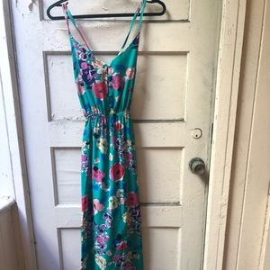 Yumi Kim green floral print straps maxi dress